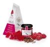 Salsa dolça gelificada de gerds amb pètals de rosa i pebre de Sixuan